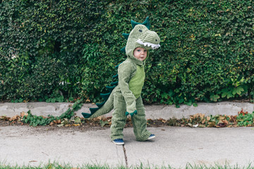 Toddler in a dinosaur costume walking down the sidewalk