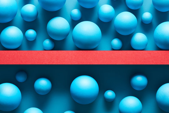 Composed blue spheres on sides of barrier