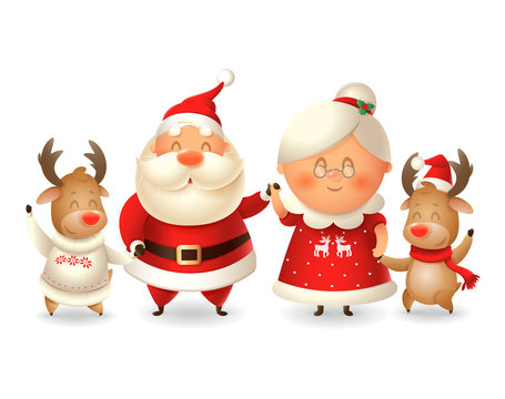 Santa Calus his wife Mrs Claus and two Reindeer celebrate winter holidays - vector illustration isolated on transparent background