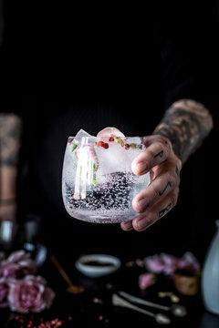 Rose Petals Sake Tonic