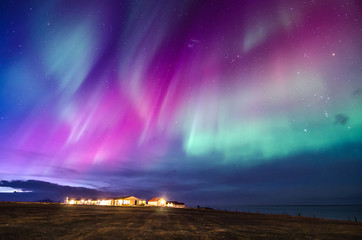 Foto op Textielframe Noorderlicht colorful northern lights in Iceland