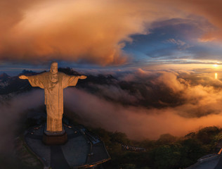 Fotobehang Historisch mon. Aerial view of Christ Redeemer Statue during sunset