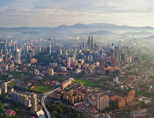 General aerial view of Kuala Lumpur, Malaysia