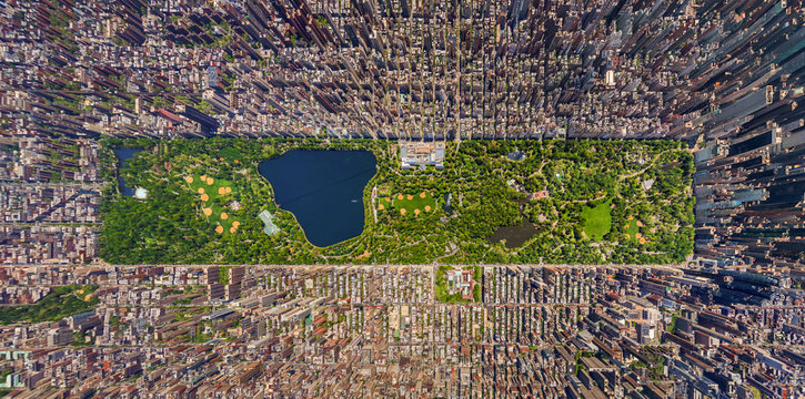 Aerial view of central park at Manhattan
