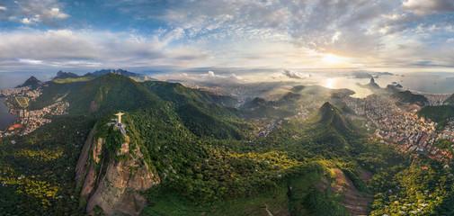 Tuinposter Historisch mon. Aerial view of Christ the Redeemer in Rio de Janeiro