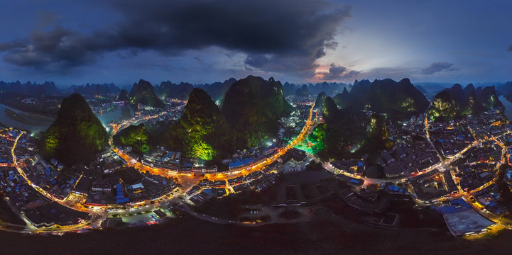 Aerial view of the Guilin National Park surrounding by city, China