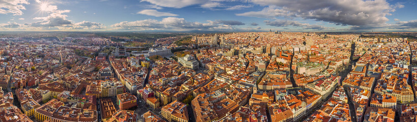Panoramic aerial view of Madrid, Spain