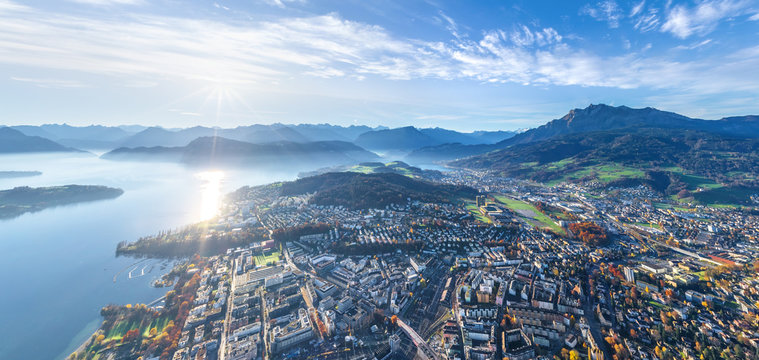 Aerial view of Lucerne cityscape during the day, Switzerland
