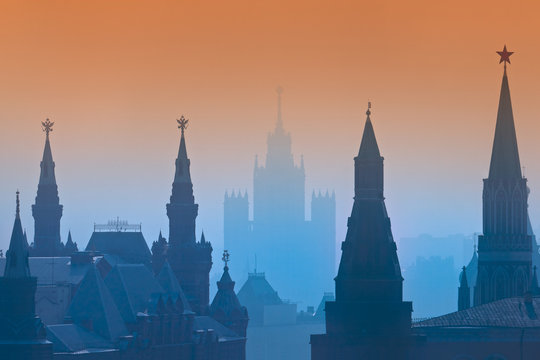 Aerial view of Moscow city during sunset