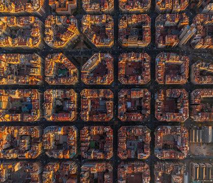 Aerial view above of Barcelona superblocks, Spain.