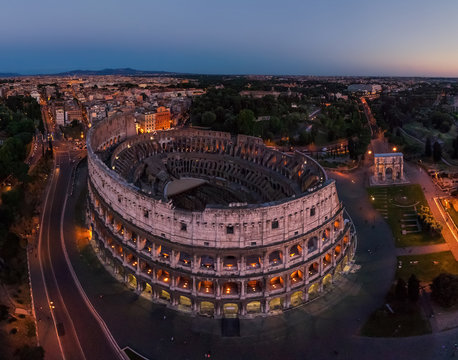 Aerial view of the Roman Colosseum during the night, Rome, Italy