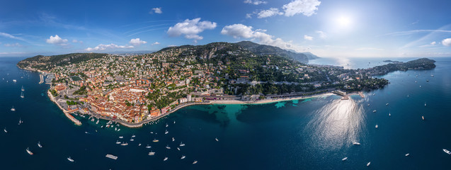 Panoramic aerial image of Villefranche-sur-Mer, France