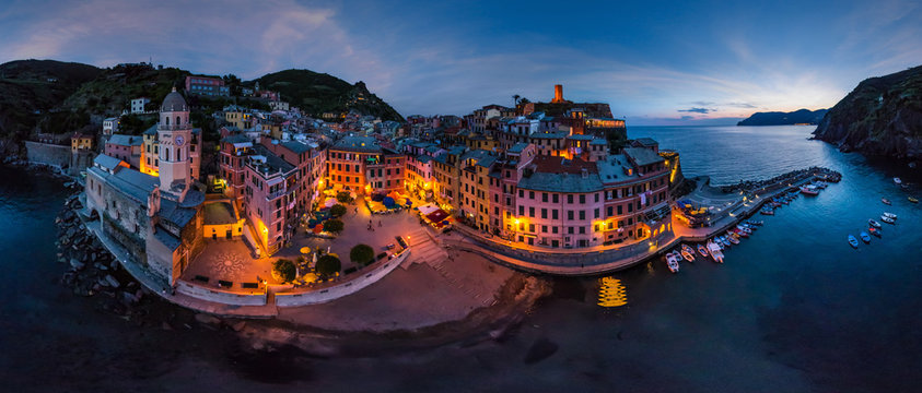 Aerial view of Vernazza at night, Italy