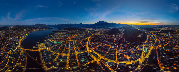 Aerial view of Lucerne cityscape during the night, Switzerland