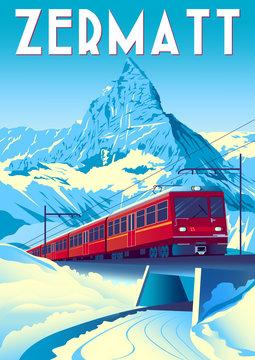 Zermatt Travel Poster with railway train in first plan and Matterhorn in the background.