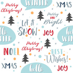 Merry Christmas seamless pattern background with calligraphy, lettering, snowflakes, christmas tree. Wrapping paper, textile, wallpaper design. Vector illustration. Eps 10