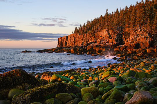 Otter Cliff at sunrise in Acadia National Park, USA