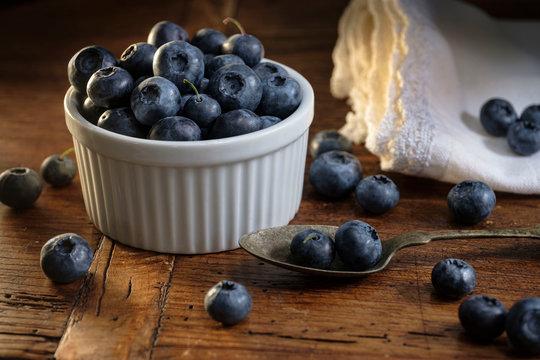 Ramekin of blueberries with spoon