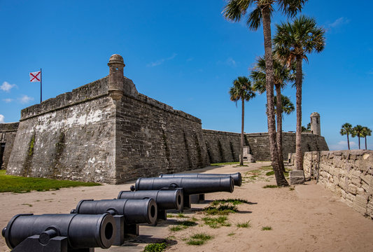 Cannons by Castillo de San Marcos in St. Augustine, USA