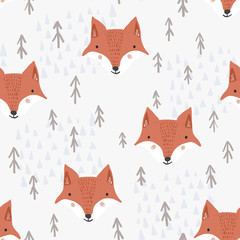 Cute seamless pattern with cartoon orange fox heads, brown fir trees and light mountains. Funny hand drawn foxes texture for kids design, wallpaper, textile, wrapping paper