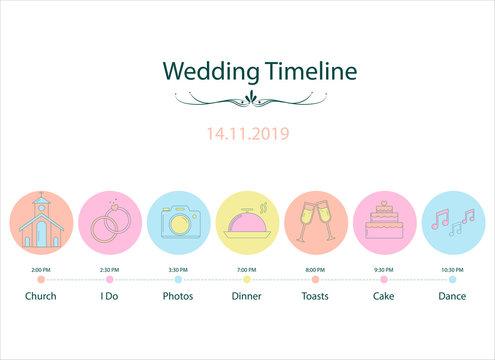 Wedding timeline chart with cute cartoons EPS10.Vector