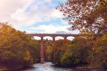 Pontcysyllte Aqueduct with Llangollen Canal in Wales, UK