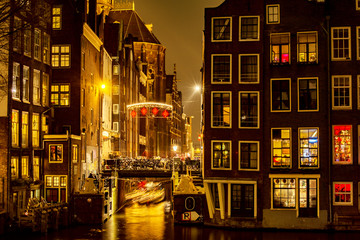 Foto op Canvas Amsterdam Amsterdam at night