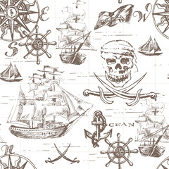 Vector abstract seamless background on the theme of travel, adventure and discovery. Old hand drawn map with vintage sailing yachts, wind rose, routs, nautical symbols and handwritten inscriptions