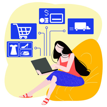 Vector flat modern illustration of a girl who sits on a frameless chair and makes purchase online