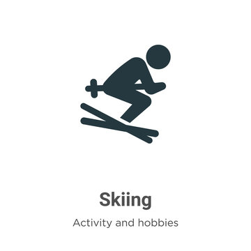 Skiing vector icon on white background. Flat vector skiing icon symbol sign from modern activity and hobbies collection for mobile concept and web apps design.