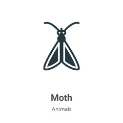 Moth vector icon on white background. Flat vector moth icon symbol sign from modern animals collection for mobile concept and web apps design.