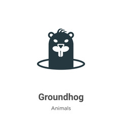 Groundhog vector icon on white background. Flat vector groundhog icon symbol sign from modern animals collection for mobile concept and web apps design.