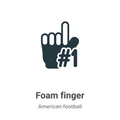 Foam finger vector icon on white background. Flat vector foam finger icon symbol sign from modern american football collection for mobile concept and web apps design.