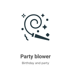 Party blower vector icon on white background. Flat vector party blower icon symbol sign from modern birthday and party collection for mobile concept and web apps design.
