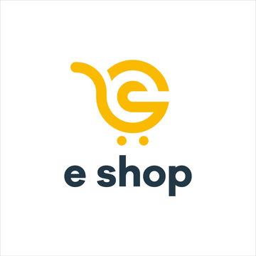 Letter E Online Shop Logo vector