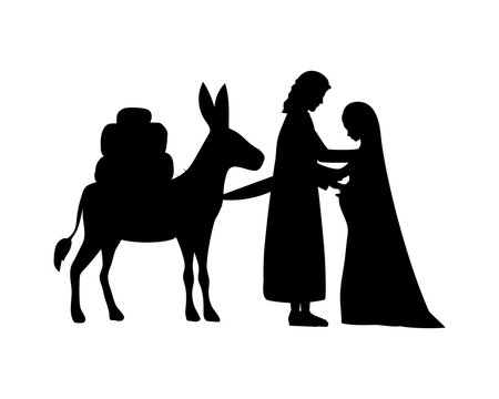 joseph and mary virgin in mule silhouettes manger characters