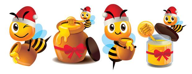 Merry Christmas. Cartoon cute bee mascot set. Cute bee wearing Christmas hat. Cartoon cute bee with honey pot set. Cute bee carries honey pot and organic honey bottle - Vector character mascot set