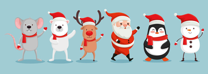 group of cute characters christmas vector illustration design Fotomurales