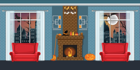 Halloween party in cozy Living room interior with fireplace.