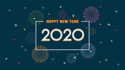 Happy new year 2020 with fireworks in flat icon design on dark blue color background
