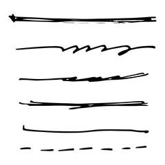 Set of black ink brush stroke line. Set of line vector illustration.