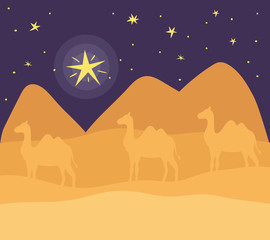 Printed kitchen splashbacks Eggplant desert night with camels landscape scene icon