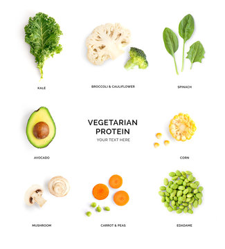 Creative layout made of avocado, kale, broccoli, spinach, corn, mushroom, carrot, green peas, edamame on the white background. Flat lay. Food concept.
