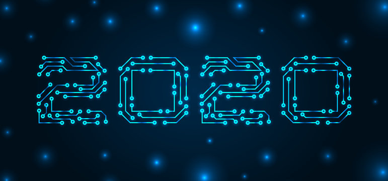Text 2020 Made in Circuit Texture, Banner for Happy New Year