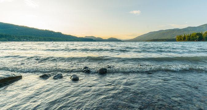 Whitefish Montana mountain lake at the sunset