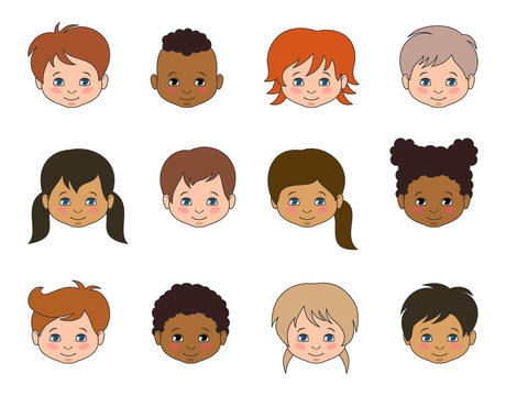 Set Children Faces of Different Races, Multicultural Kids Heads