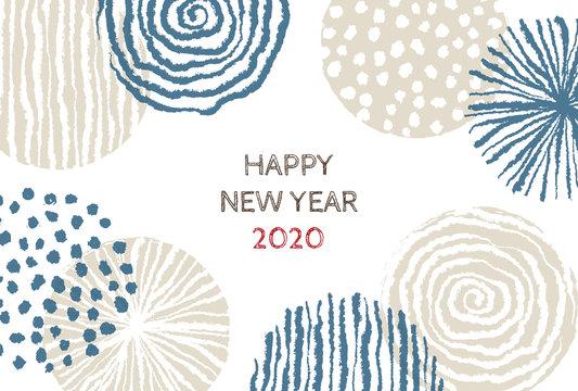 2020年 手書き北欧模様の年賀状