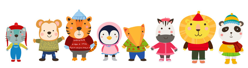 Cute animals in winter clothes
