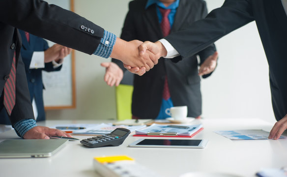 Lawyers for legal and business mediation. Businessman shaking hands after business meetings are done well. Business cooperation.