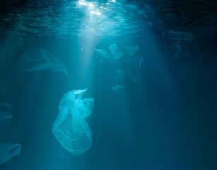 Sea or ocean underwater with plastic garbage